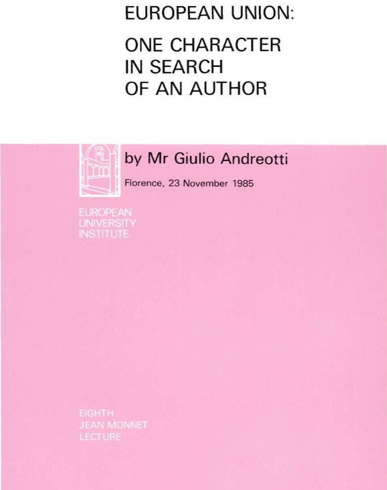 Book Cover: Unione Europea : un personaggio in cerca d'autore