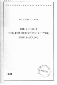 Book Cover: Die Einheit der europäischen Kultur und Bildung